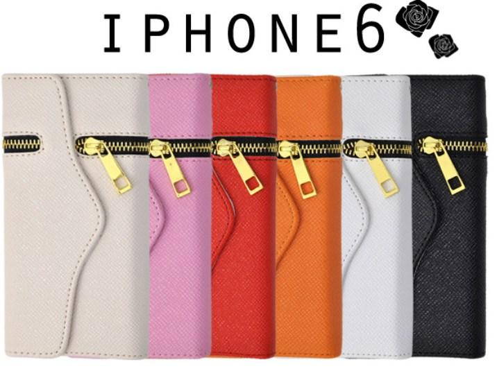 ジップ付きiPhone6手帳型ケース